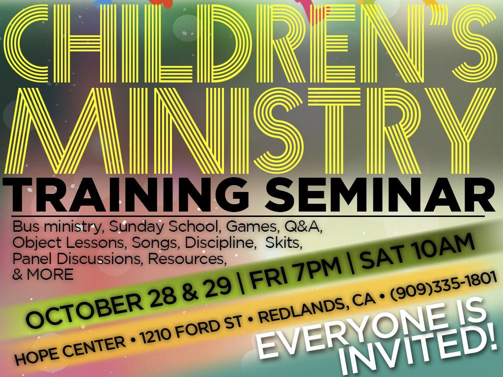 October 28 & 29 | Children's Ministry Training Seminar