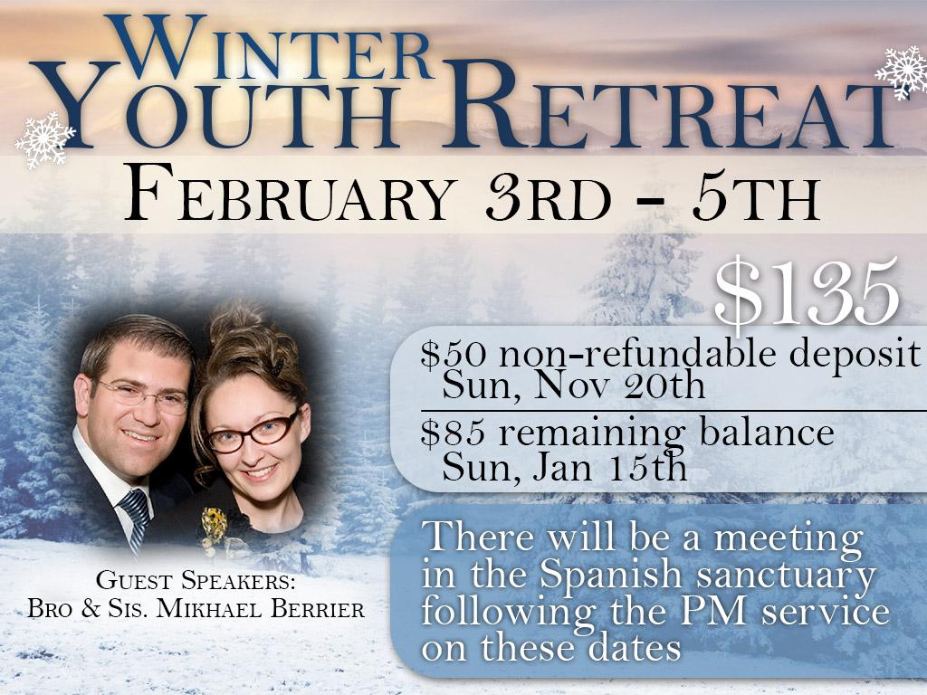 February 3 -5 | Youth Winter Retreat