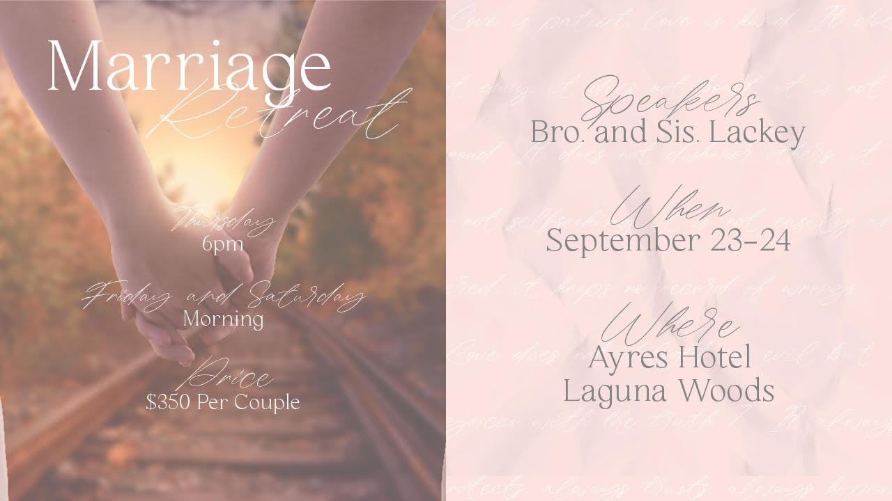 Marriage Retreat   September 23, 2021